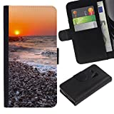 KLONGSHOP / Flip Wallet Leather Case Cover With Card Slots - Sunset Beautiful Nature 116;; - Samsung Galaxy S3 MINI NOT REGULAR! I8190 I8190N