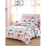 MEIREN Promotion Owls Bedding Set Cute Design Home Textiles Kids Owl Quilt Cover Double Queen Size housse de couette 4Pcs , queen