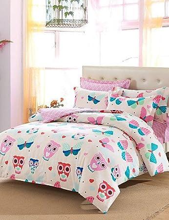 Amazon.com: MEIREN Promotion Owls Bedding Set Cute Design Home ... : owl quilt cover - Adamdwight.com