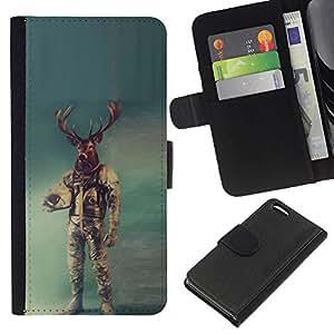 KLONGSHOP // Tirón de la caja Cartera de cuero con ranuras para tarjetas - Astronauta ciervos - Apple Iphone 5C //