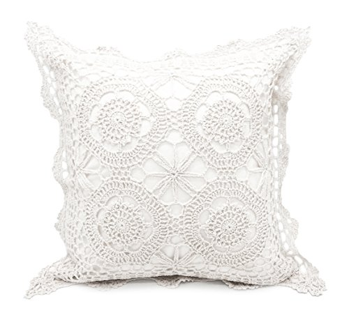 Fennco Styles Handmade Crochet Lace Cotton Tablecloth (17''x17'' Pillow Case, White) by Fennco Styles