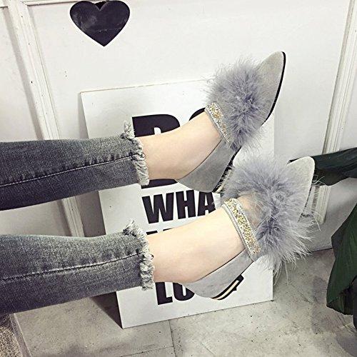 Waterjet Apuntó la Palabra Femenina de Los Zapatos Planos Solos con Los Zapatos de la Piel de la Boca Baja Zapatos de Los Guisantes , caqui , EUR35