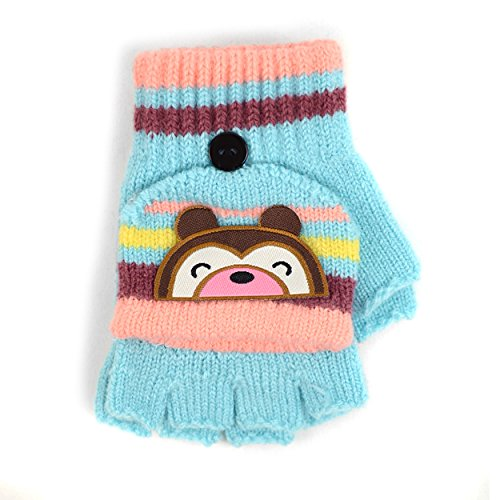 Children's Striped Cuddly Bear Convertible Mitten Gloves for Winter (Striped Glove Convertible)