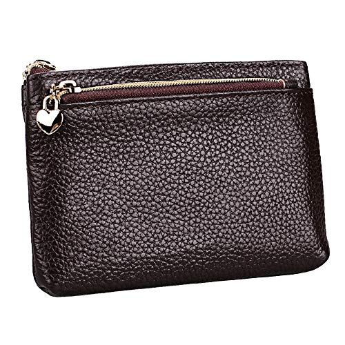 Women's Genuine Leather Coin Purse Zipper Pocket Size Pouch Change Wallet, Coffee