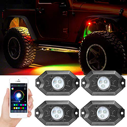 (Wayup 4 Pods RGB LED Rock Light Kits with Bluetooth Control Waterproof Multicolor Underglow LED Neon Trail Rig Lights for Truck Off Road Jeep SUV ATV Boat)