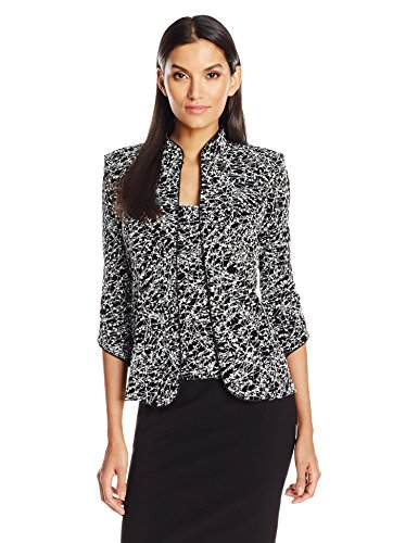 Alex Evenings Women's Printed Mandarin Neck Twinset Tank and Jacket, Black/White, XL (Alex Evening Jackets)