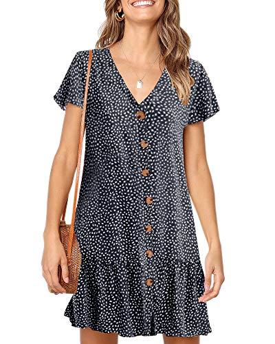 Imysty Womens Polka Dot V Neck Button Down Ruffles Loose Mini Short T-Shirt Dress Navy Blue ()