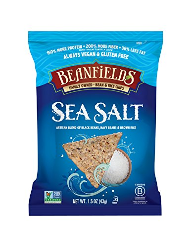 Beanfields Bean Chips, High Protein and Fiber, Gluten Free, Vegan Snack, Sea Salt, 1.5 Ounce (Pack of 24)