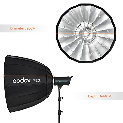 Godox Portable Parabolic Softbox, 90cm (36 inch), Hexadecagon Softbox with Bowen Mounts for Studio Light and Speedlite Flash by Godox (Image #4)