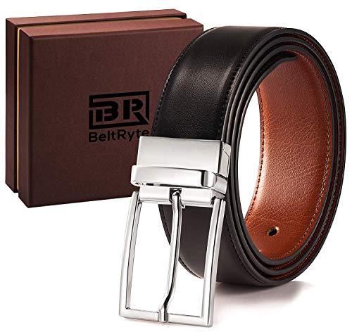 Reversible Leather Belts for Men - BeltRyte Mens Dress Belt Black / Brown - 36 inch