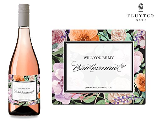 Will You Be My? - Set of 8 Vintage Floral Wedding Labels for Wine Bottles & Gift Boxes - Bridesmaid & Maid of Honor Proposal Gift - Engagement Party - -