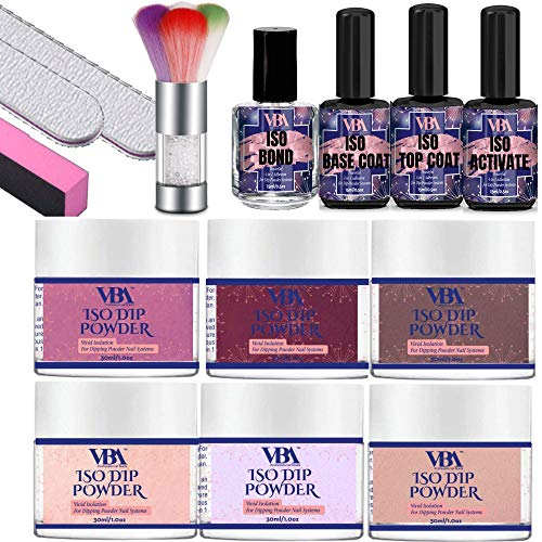 ISO DIP POWDR KIT 6 Essential Resin Dipping Nail Polish Colors ISO TOP Coat ISO Base Coat ISO Activate ISO Bond Nail File Buffer