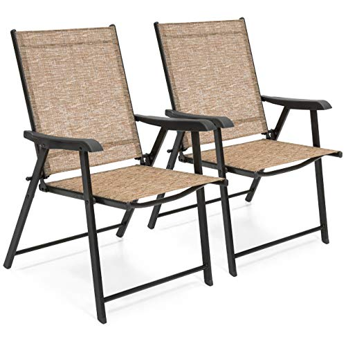 Best Choice Products Set of 2 Outdoor Mesh Patio Folding Sling Back Chairs with Steel Frame, Brown