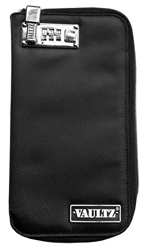 Vaultz Locking Soft Sided E-Cigarette Case, Large, 5 x 10 Inches, Black (VZ00737)