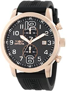 Invicta Men's 11242 Specialty Rose Gold Chronograph Black Carbon Fiber Dial Black Polyurethane Watch