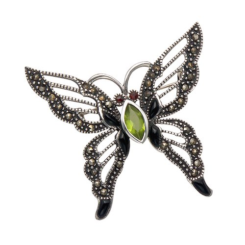Wild Things Sterling Silver Butterfly Pin with Marcasite, Simulated Black Onyx and Faceted Crystals