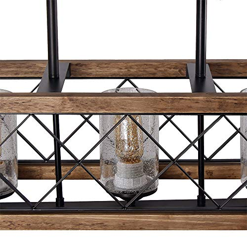 Giluta Rectangle Wood Metal Pendant Light Kitchen Island Chandelier Black Finish Rustic Industrial Chandelier Vintage Ceiling Light Fixture 5 Lights with Seeded Glass Shade 17810