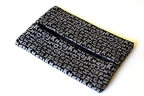 Black and Grey Text Fabric Pocket Travel Tissue Holder