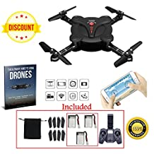 Mini Drone with Camera and Live Video transmission; 2.4GHz 4CH 6-Axis Gyro RC Mini quadcopter with Headless mode, Altitude Hold, gravity sensor, 1 key return; Includes Remote Control and 3 Batteries
