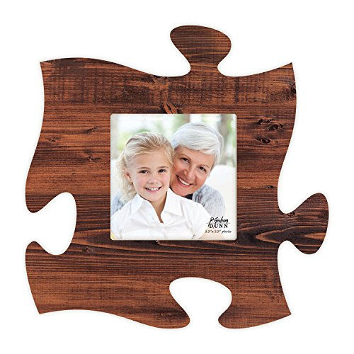 Brown Distressed Look 6 x 6 Wood Puzzle Wall Plaque Photo