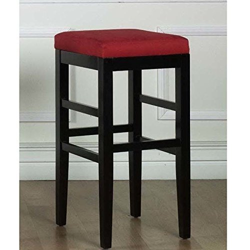 Sonata Stationary Barstool In Red Micro Fiber With Black Legs - 26 Inch (26 Inch Stationary Bar Stool)