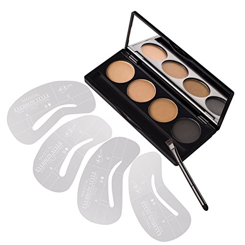 DE'LANCI 4 Colors Eyebrow Powder Palette Brow Makeup Set Eye Brow Shading Kit with Make Up Brush 4Pcs Stencils (4 Color)