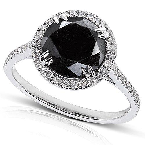 Black and White Diamond Engagement Ring 3 3/4 Carat (ctw) in 14K Gold_8.0_14k Rose Gold