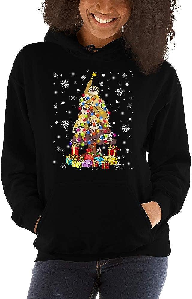 TEEPOMY Sloths Christmas Tree Shape Funny Sloth Lovers Unisex Hoodie