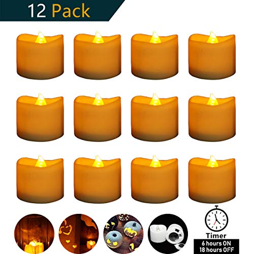 Micandle 12 Pack Battery Timer Tea Lights,6 Hours on and 18 Hours Off in 24 Hours Cycle,LED+PP,No fire Hazards or Burning Risks,Amber Flicker Timer Candles for Wedding Party Home Decor,1.4 x 1.4 Inch by Micandle