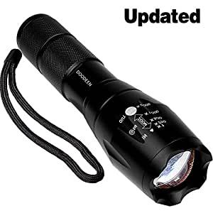 DOODEEN Super Bright led Flashlight T6 Water Resistant Torch Adjustable Focus Zoom Tactical Light Lamp for Outdoor Powered by 1pcs 18650 Or 3pcs AAA Battery (Battery Not Included)