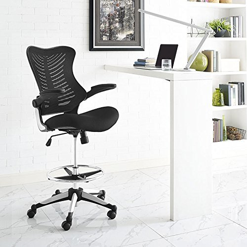 Guest Arm Chair Companion - Modway Charge Drafting Chair In Black - Reception Desk Chair - Tall Office Chair For Adjustable Standing Desks - Drafting Table Chair - Flip-Up Arms
