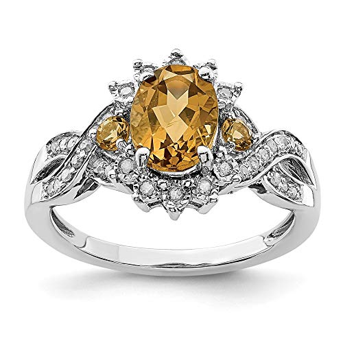 Oval Whiskey Quartz & .15 Ctw (H-I Color, I2-I3 Clarity) Diamond Halo Sterling Silver Ring, Size 7
