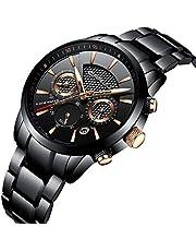 CRRJU Herren Chronographean Analog Quarz Armbanduhr Schwarz Edelstahl Armband 2212