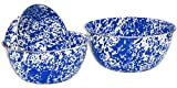 Crow Canyon Enamelware - 3 Piece Mixing Bowl Set - Blue on White Marble