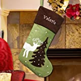 Embroidered Holiday Reindeer Stocking