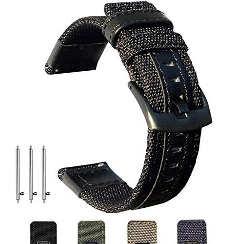 Olytop Compatible Galaxy Watch (42mm) Bands & Vivoactive 3 Bands, 20mm Premium Nylon Sport Strap Wristbands for Galaxy Watch 42mm/Garmin Vivoactive 3 /Ticwatch E Smartwatch (Black)
