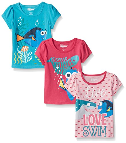 Disney Little Girls 3 Pack Of Finding Dory T-Shirts, Blue, 6X