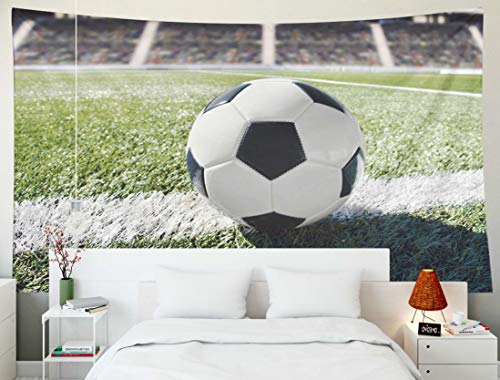 Yecationy Art Tapestry, Tapestry Psychedelic Tapestry 60x50 Inch Shot Traditional Soccer Ball Field Stadium Background Tapestry Wall Hanging Living Room Decoration Tapestries