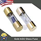 5 Pack 50 AMP Gold AGU LED Indicator Glass Fuse 50A Car Truck Boat Marine RV