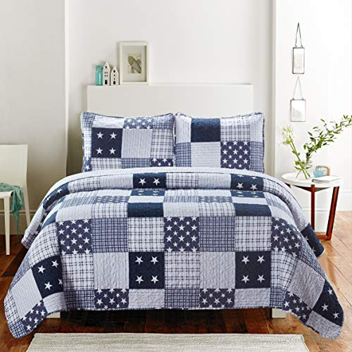SLPR Americana Pride 3-Piece Lightweight Printed Quilt Set (Queen) | with 2 Shams Pre-Washed All-Season Machine Washable Bedspread Coverlet