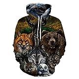 Hycsen 3D Hoodies Animal 3D Printed Sweatshirt Snow Animal Hoodies sweatshirt-DX043-L