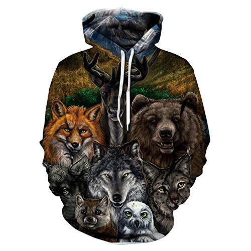 Hycsen 3D Hoodies Animal 3D Printed Sweatshirt Snow Animal Hoodies sweatshirt-DX043-XL