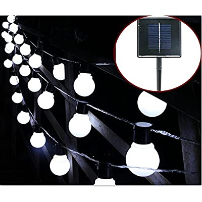 Solar Bulb Lights,WONFAST Waterproof 10 LED Plastic Solar Globe Bulbs String Lights with 2 Modes Lighting for Indoor/Outdoor,Garden,Christmas Decorations (White-Milkball)