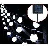 Solar Bulb Lights,WONFAST Waterproof 10 LED Plastic Solar Globe Bulbs String Lights with 2 Modes Lighting for Indoor/Outdoor,Garden,Christmas Decorations (White-Milkball)