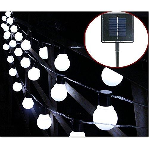 Solar Bulb Lights,WONFAST Waterproof 10 LED Plastic Solar Globe Bulbs String Lights with 2 Modes Lighting for Indoor/Outdoor,Garden,Christmas Decorations (White-Milkball) by WONFAST