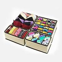 Foldable 4 PCS/SET Storage Drawer Organizer Bra Underwear Closet Divider Kit (Beige)