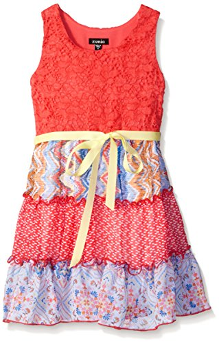 ZUNIE Little Girls Sleeveless Lace Bodice with Chiffon Mixed Print Tiered Skirt, Bright Coral, 4