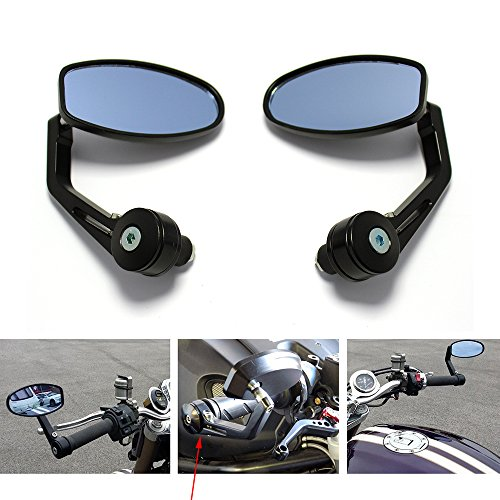 Universal Black Motorcycle 7 8 Handle Bar End Side Mirrors for Cruiser Sport Bikes (Bar Sportbike Ends)