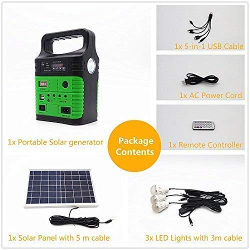 Portable Solar Generator with Solar Panel,Included 3 Sets LED lights,Solar Power Inverter,Electric Generator,Small Basic Portable Generator Kit,Solar Lights for Home & Camping,Power for Solar Fans