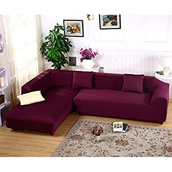 sectional sofa covers. Premium Quality Sofa Covers For L Shape, 2pcs Polyester Fabric Stretch Slipcovers + Pillow Sectional